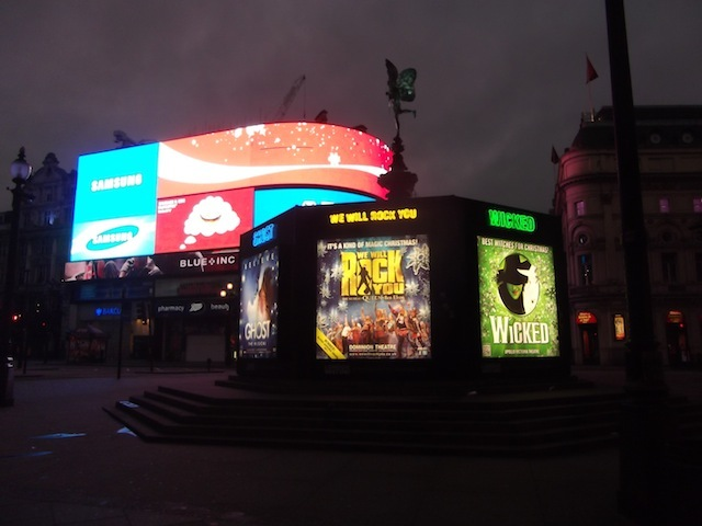 Piccadilly Circus and Eros in full glory.