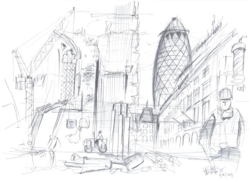 Architecture Drawing Png 10 x 10: famous artists and architects draw the city | londonist