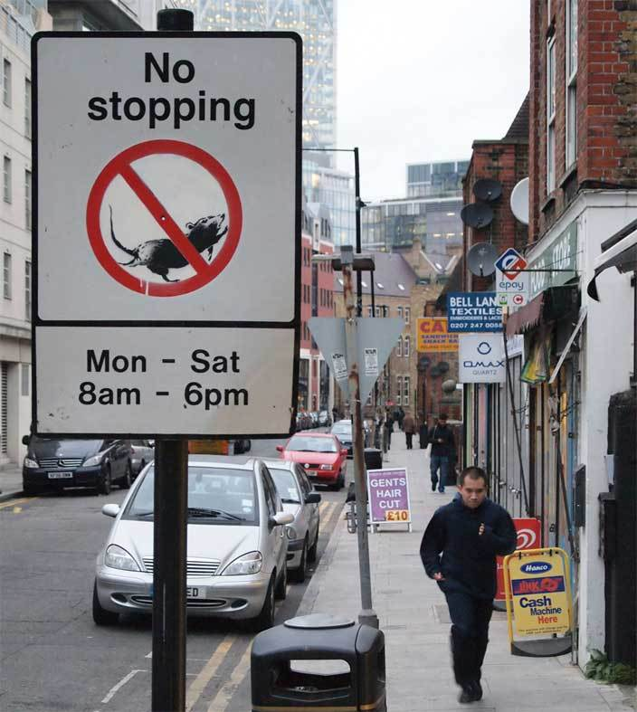 No Stopping, Bell Lane Spitalfields (via Banksy.co.uk)