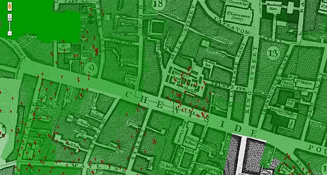 Zooming in on Cheapside in 1746