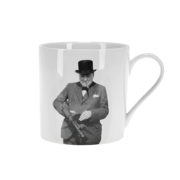 An iconic image of Winston Churchill in 1940 inspecting a 'Tommy gun' while visiting coastal defence positions near Hartlepool graces this fine bone china mug. Buy now
