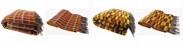 A range of scarves and throws with moquette designs.