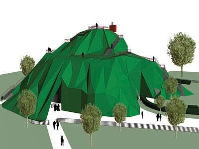 MVRDV's unrealised scheme for the 2004 Serpentine Pavliion involved building a mountain over the eponymous gallery.