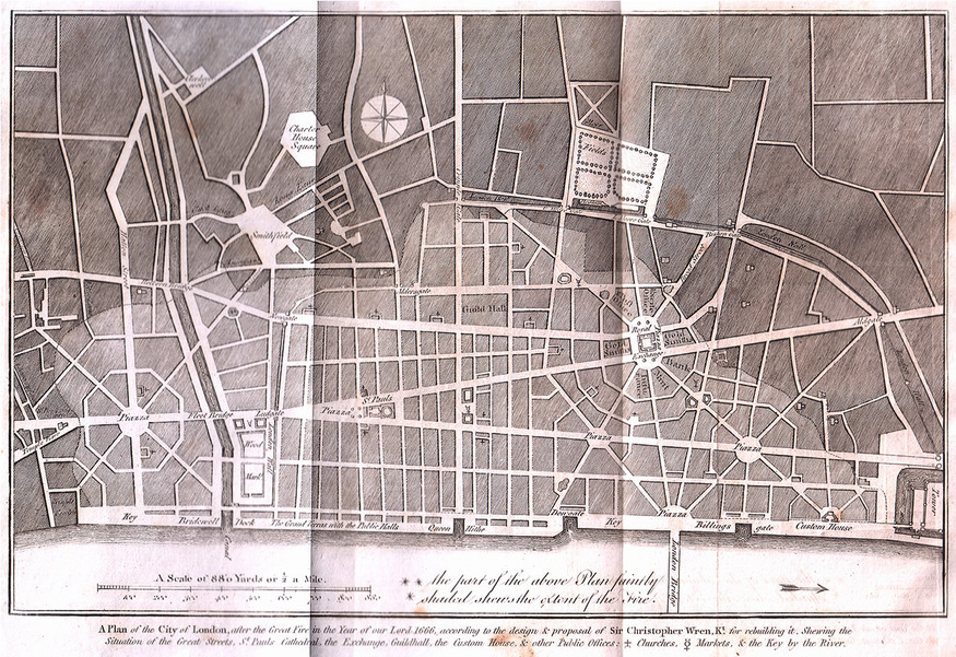 Christopher Wren's design for London after the Great Fire