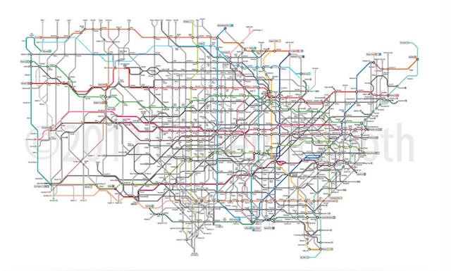 Alternative Tube Maps US Routes And Interstates Londonist