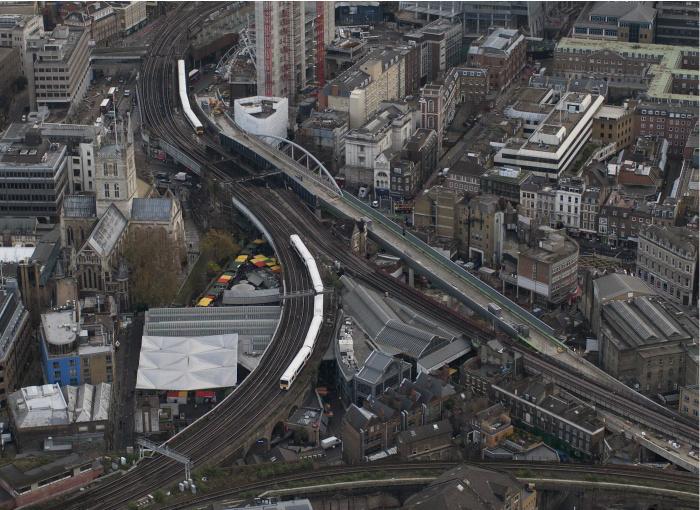 The new bridge over Borough High Street, leading in to London Bridge station.