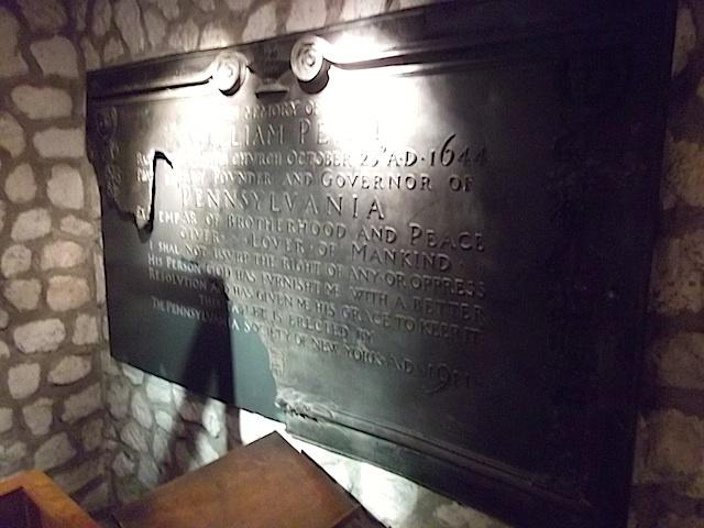 Damaged memorial to William Penn.