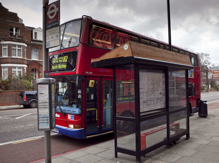 A Bus-Top from ground level - all the wiring and electronic gadgetry is encased in London Plane wood. (Image: Idea Generation)