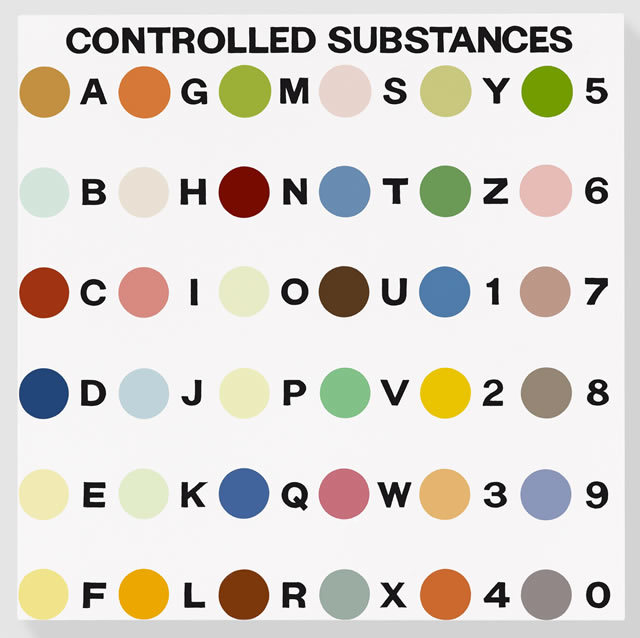 Damien Hirst Controlled Substance Key Painting, 1994 Household gloss on canvas 48 x 48 inches 121.9 x 121.9 cm Photographed by Prudence Cuming Associates © Damien Hirst and Science Ltd. All rights reserved, DACS 2011 Courtesy Gagosian Gallery