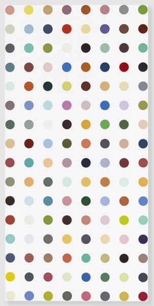Damien Hirst Famotidine, 2004-2011 Household gloss on canvas 62 x 30 inches 157.5 x 76.2 cm Photographed by Prudence Cuming Associates © Damien Hirst and Science Ltd. All rights reserved, DACS 2011 Courtesy Gagosian Gallery