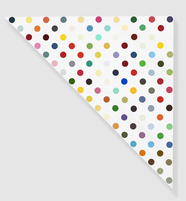 Damien Hirst Levorphanol, 1995 Household gloss on canvas 27 x 27 in (triangle) 68.6 x 68.6 cm Photographed by Prudence Cuming Associates © Damien Hirst and Science Ltd. All rights reserved, DACS 2011 Courtesy Gagosian Gallery