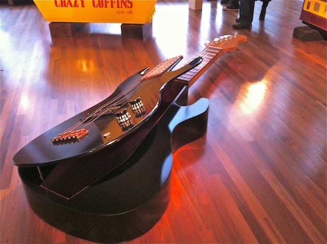 No strings attached...a guitar coffin.