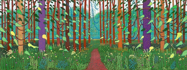 """THE ARRIVAL OF SPRING (ONE OF A 52 PART WORK)"" 2011 OIL ON 32 CANVASES (36 X 48"" EACH) 144 X 384"" OVERALL �© DAVID HOCKNEY"