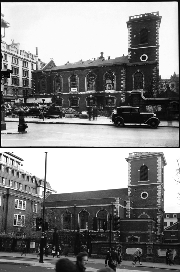 A bomb-damaged St James's in Piccadilly in 1940 (top). And back to its former self... (bottom).