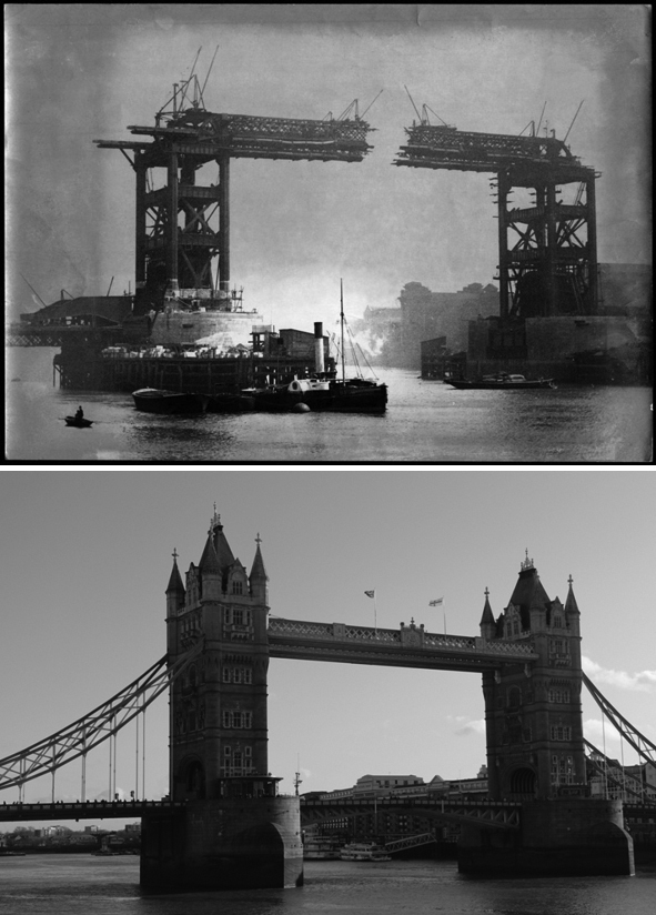 Tower Bridge in progress way back in 1893 (top). Tower Bridge in its modern day splendour (bottom).