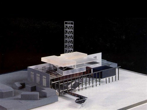 Model of entry by Office for Metropolitan Architecture in the competition to transform Bankside Power Station into Tate Modern, 1994