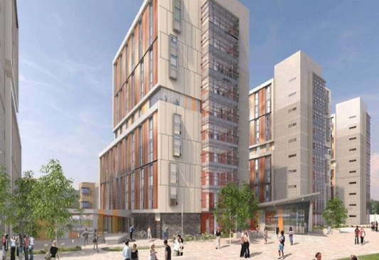 Wood Lane Studios: postgrad accommodation currently under construction