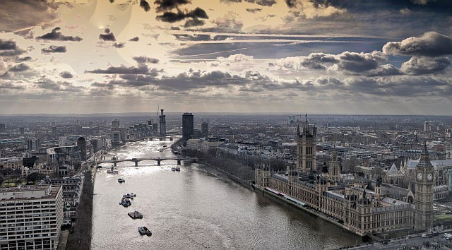 The Thames, the Houses of Parliament, and south-west London