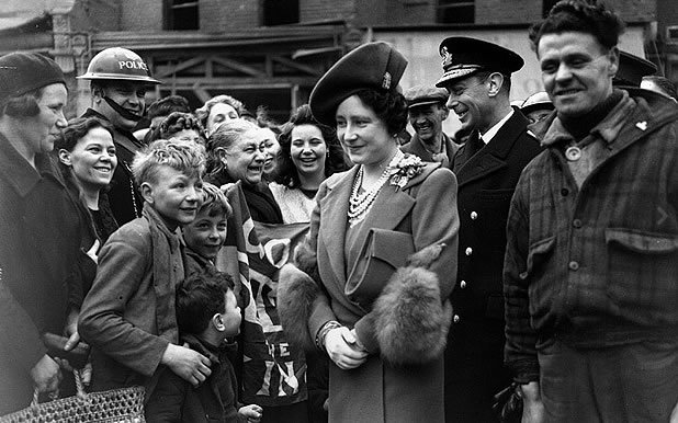 Royal Blitz Visit: 23 April 1941: King George VI (1895-1952) and Queen Elizabeth (1900-2002) meeting air raid victims in the East End of London (Photo by Central Press/Getty Images)