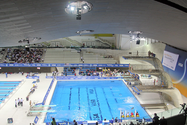 Another view of the dive pool, this from roughly halfway up the temporary seating wing.