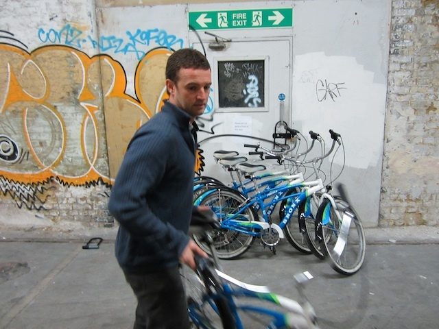 Chris dispenses the bikes, from a secret lock-up beneath Waterloo.