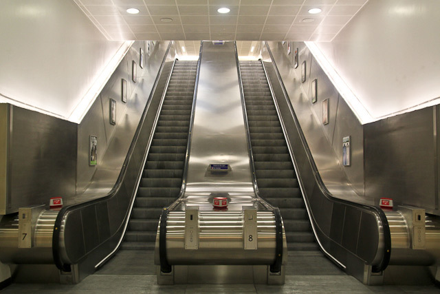Two of the station's four escalators