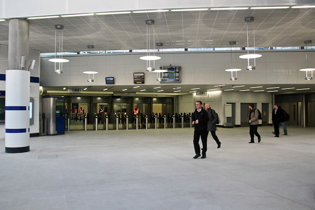 The new ticket hall; the entrance to the national rail staion is to the right