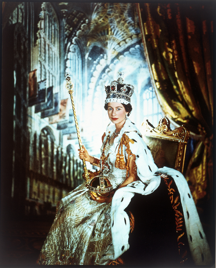 Queen Elizabeth II in Coronation robes by Cecil Beaton, June 1953. Copyright V&A images