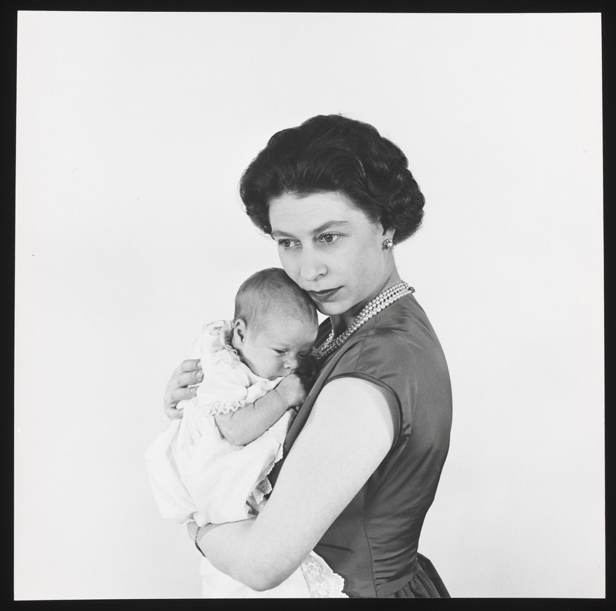 Queen Elizabeth II with Prince Andrew by Cecil Beaton, 1960. Copyright V&A images