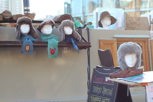 Fuzzy hats for sale on a Regent's Canal boat (Chapeau Bateau) by Tim Woodall