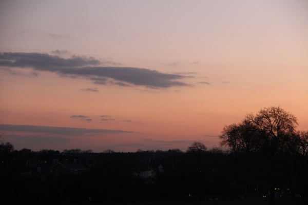 Red sky in the morning, shepherd's warning - dawn over South London by Tim Woodall