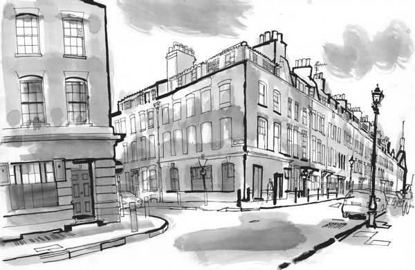 Fournier Street, as sketched by Lucinda Rogers.