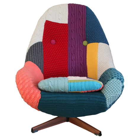 Harry is an original 1960s swivel chair on a metal base with wood finish. Covered in a hand-knitted highly textured patchwork design, with contrast colour deep-set crocheted buttons. £1,900