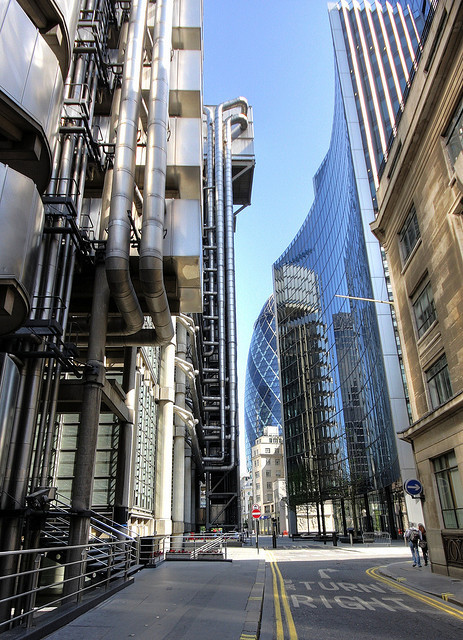 Lloyd's of London with the Gherkin peaking behind, by Brron
