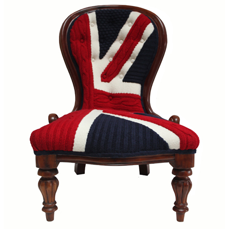 Maggie is a well-loved nursing chair, revived with a modern interpretation of Melanie Porter's signature knitted Union Jack. From £1,400