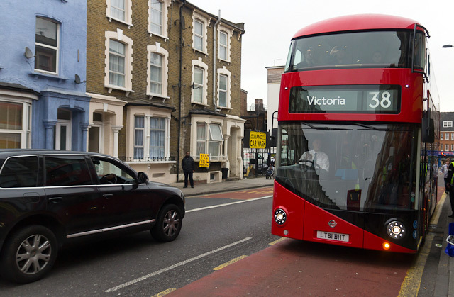 The bus arrives at Graham Road, Hackney