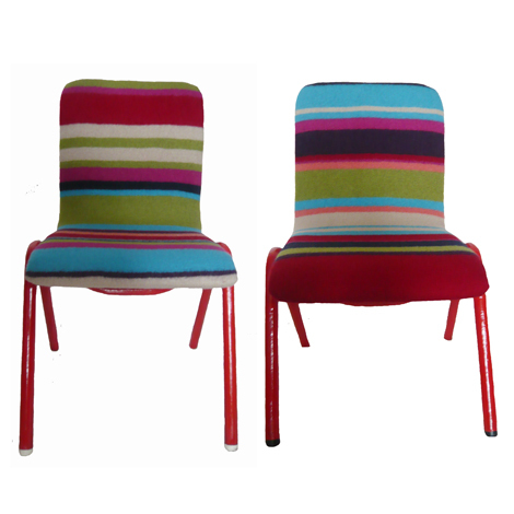 Ollie and Otis are a colourful pair of classic 1950s school chairs. These children's chairs have gloss red painted legs and a brightly coloured stripe padded seat. £145