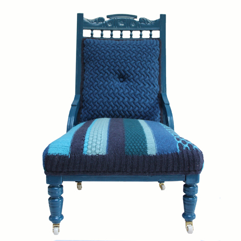 Rocky is an Edwardian ladies chair which has been restored and recovered with a highly textured stripe knit seat and an intricate cable knit back. With one deep-set crochet button. £1,400