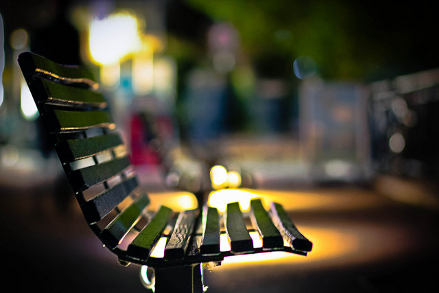 A sun-dappled bench on the South Bank, by markspokes49