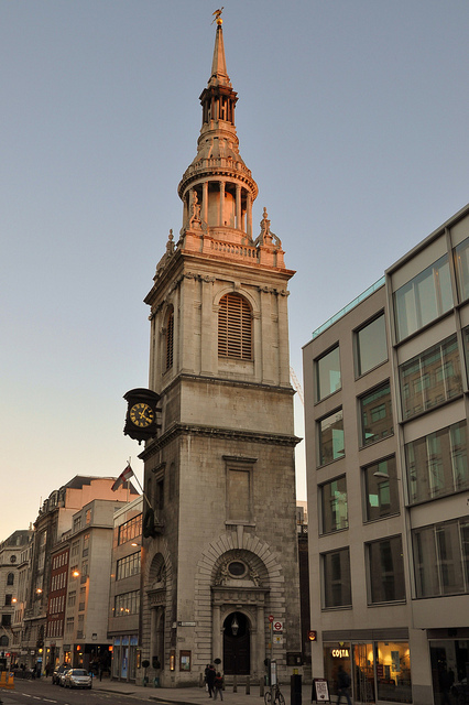 A warm glow on St Mary-le-Bow, by Lux ex tenebris