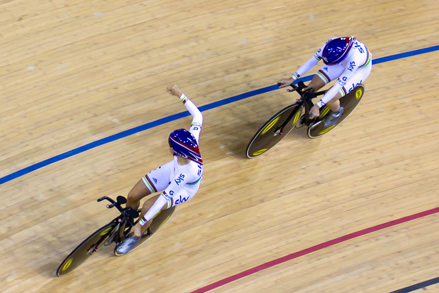 Team GB celebrate victory in the team pursuit