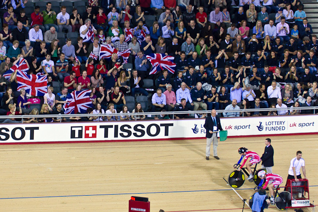 Local support for the British women in the team sprint final