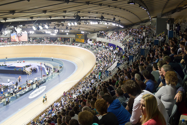 The view from the uppermost row in the Velodrome
