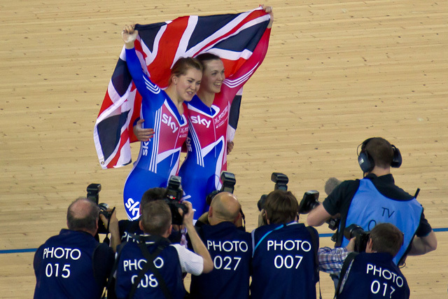 Jess Varnish and Victoria Pendleton celebrate their win