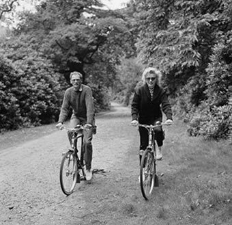 Monroe out for a cycle ride with her third husband, American dramatist Arthur Miller, 13 August 1956. Photo by Harold Clements/Daily Express/Hulton Archive/Getty Images