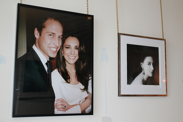 Portaits hung in the vestible are a Who's Who of Kensington Palace's former residents. Here's the Duke and Duchess of Cambridge by Mario Testino, and Princess Margaret by Lord Snowdon