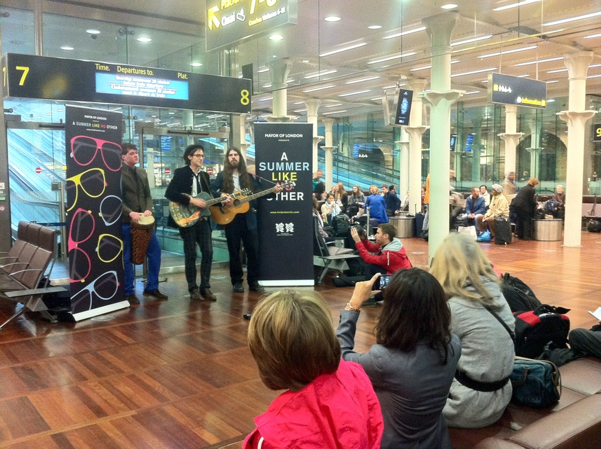 Some music while you wait? Robbie Boyd at the departures lounge