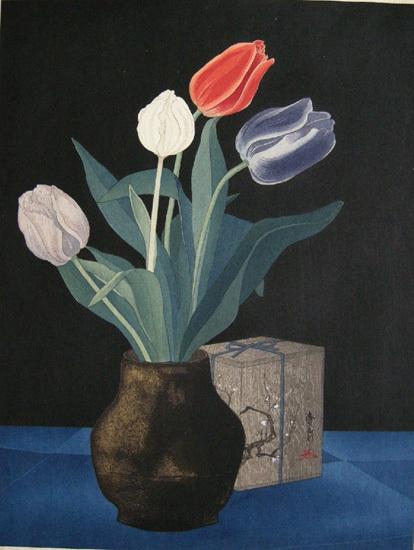 Yoshijiro Urushibara 'Tulips'. From Hilary Chapman fine prints.