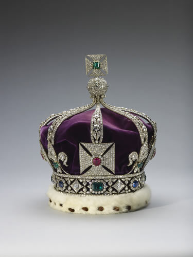 "Imperial Crown of India. Not technically part of the Crown Jewels, this crown was specially made to feature in King George's Delhi Durbar because none of the other crown jewels are allowed to leave the UK. Think of this as a ""travel crown""."