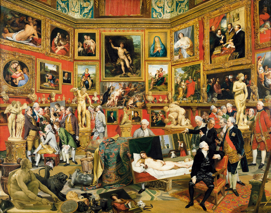 Johan Zoffany RA: Society Observed  10 March 2012 to 10 June 2012    Key. 50      Johan Zoffany  The Tribuna of the Uffizi, 1772-7  Oil on canvas  123.5 x 155 cm  The Royal Collection, Her Majesty Queen Elizabeth II  Photo The Royal Collection copyright 2011, Her Majesty Queen Elizabeth II
